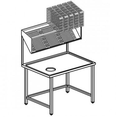 Tavolo di sbarazzo con mensola portacestini, l=1100 mm