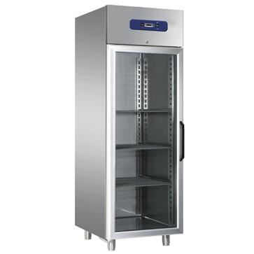 Armadio frigorifero ventilato 600 litri inox con porta in vetro interno/esterno inox temp. 0°c/+10°c