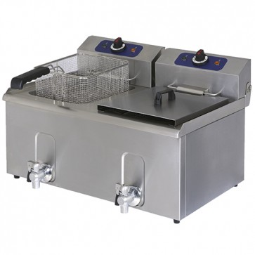 Friggitrice elettrica da banco, cap. olio 10+10Lt. con rubinetto di scarico.