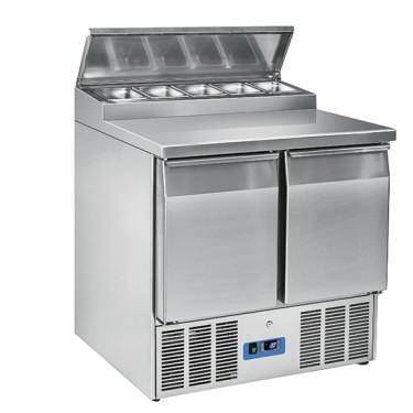 Banco di preparazione refrigerato 2 porte gn 1/1 capacità vani 260 litri temperatura +2 °c/+10 °c