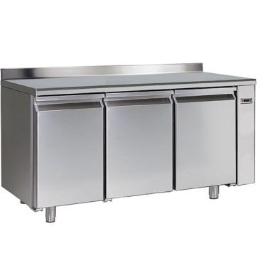 Tavolo congelatore gruppo remoto3 porte gn 1/1 piano con alzatina temp.-10 -22 c,hccpsistema