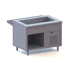 Elementi con vasca refrigerata su vano a giorno