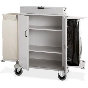 Carrello portabiancheria chiuso a 4 livelli con cassetta, 1 sacco in tela e 1 portasacco pattume