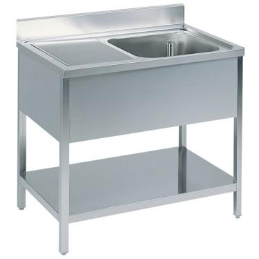 Tavolo da lavoro con vasca a destra con alzatina, con ripiiano intermedio