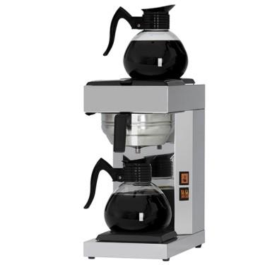 Macchina caffè a filtro manuale, con 2 caraffe 2 lt. e 2 piastre riscaldanti 15 lt. ora