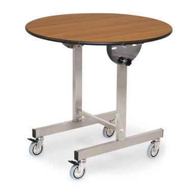 Tavolo con piano tondo ribaltabile, su ruote, ø 100 cm