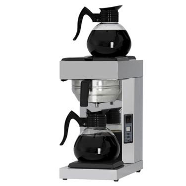 Macchina caffè a filtro, 2x1,8lt, attacco idrico 2 caraffe con piastre riscaldate 15l/h