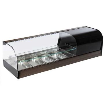 Vetrinetta tapas refrigerata a 2 piani, 4x gn 1/3 altezza 40 mm.