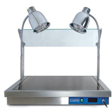 Pianetto 2x GN 1/1 scaldaivande con vetro frontale, 2 lampade alogene