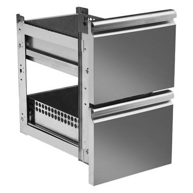 Kit cassettiera con soft self closing da 2x 1/2 per tavoli refrigerati 700 mm - linea VIRTUS