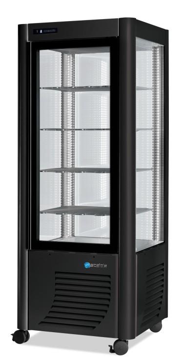 Vetrina refrigerata verticale statica con 5 ripiani, -5°c/-20°c, colore argento/nero
