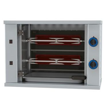 Girarrosto verticali ad asta a gas con illuminazione interna, 2 spiedi per 6 polli