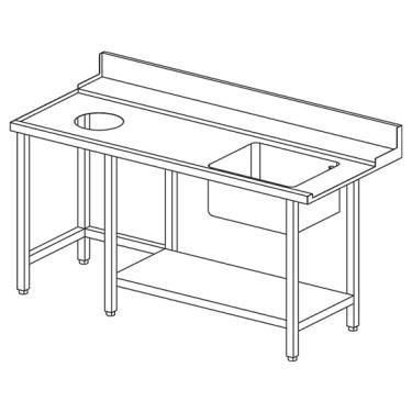 Tavolo ingresso sinistro con vasca a destra e foro rifiuti per OPT1012/CFN, l=1500 mm