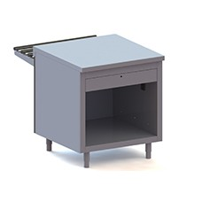Elemento cassa terminale destro, con cassetto e presa di corrente.