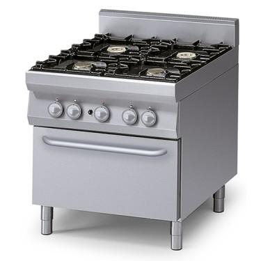 Cucina gas 4 fuochi su forno a gas statico