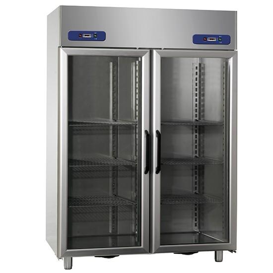 Armadio frigorifero porte vetro 2 vani 600 600 lt tutto inox 2 temperature - Porte tutto vetro ...