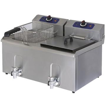 Friggitrice elettrica da banco con rubinetto di scarico, capacità olio 8+8 litri