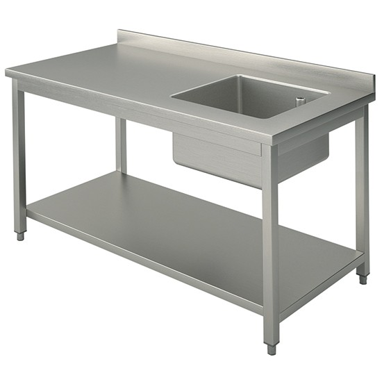 Tavoli da lavoro con ripiano e vasca destra profondità 70 cm