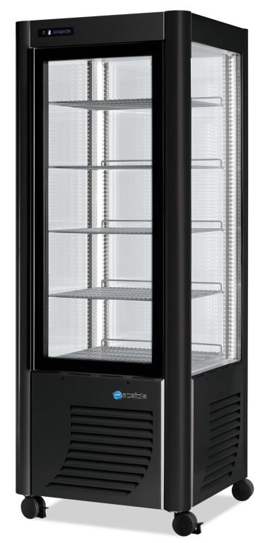 Vetrina refrigerata verticale ventilata con 5 ripiani, +2 °c/+10 °c, colore argento/nero
