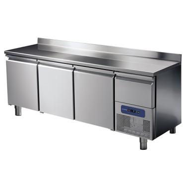 Tavolo refrigerato 3 porte GN 1/1 con alzatina e cassetto refrigerato su vano motore, -2 °/+8 °C