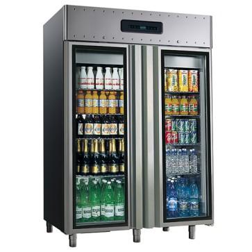 Armadio frigorifero ventilato,hccpsistema1400 lt temperatura-2/+8°c con porte in vetro
