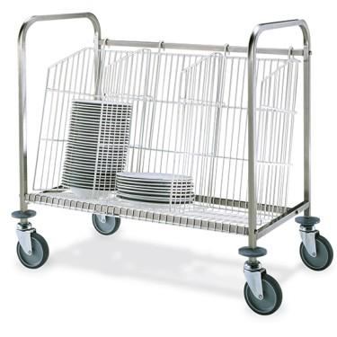 Carrello per trasporto piatti impilati; cap. 150pz.