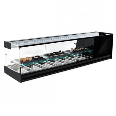 Vetrina refrigerata sushi 4x GN 1/3 con ripiano inermedio e illuminazione LED, +1°/+5°C