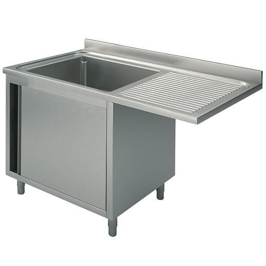 Per incasso lavastoviglie, 1 vasca, su armadio, con porta battente, gocciolatoio destro, profondità 60 cm
