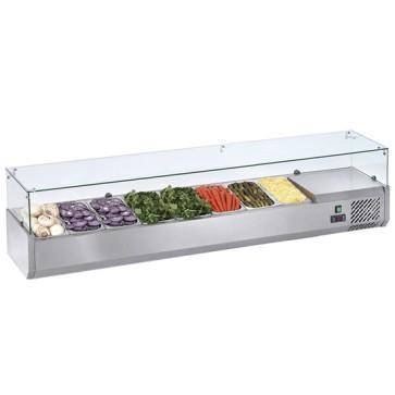 Vetrina portabacinelle refrigerata per bacinelle L. 2000 mm - Cap. 9 x GN 1/3
