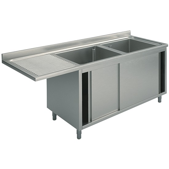 Per incasso lavastoviglie, 2 vasche, su armadio, con porte scorrevoli, gocciolatoio sinistro, profondità 60 cm