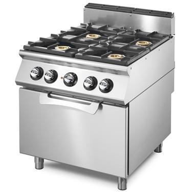 Cucina a gas su forno a gas statico GN 2/1, 4 bruciatori.