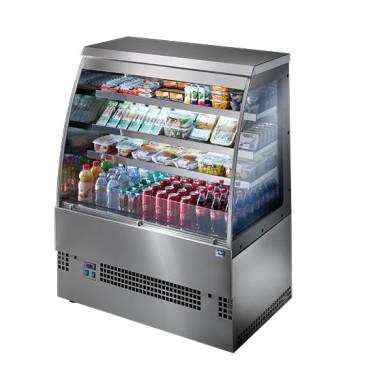 Espositore refrigerato con 3 ripiani, +3°/+5°C, l=1200 mm - Self Service in acciaio inox