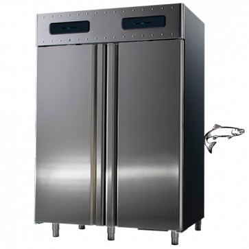 Armadio frigorifero ventilato hccp sistema 2 vani da 700 lt 2 temp.-2/+8°c/-0/+5°c per vano pesce