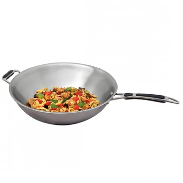 Padella per wok Ø 360 mm a induzione in acciaio inox