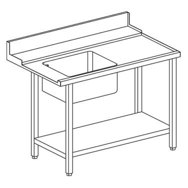 Tavolo ingresso destro con vasca a sinistra per lavastoviglie a capot OPT1012/CFN, l=1200 mm